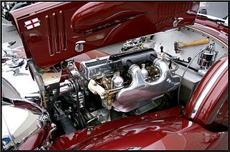 Alvis Speed 25 - Speed 25 engine 1939 showing new induction system and special hammer for knock-off hubs