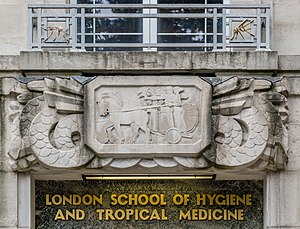 London School of Hygiene & Tropical Medicine - LSHTM Entrance sign and logo