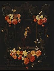 Madonna and Child Framed a Garland of Flowers
