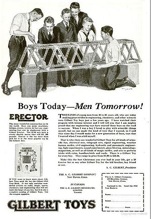 Erector Set - Print advertisement for Erector Set, circa 1922