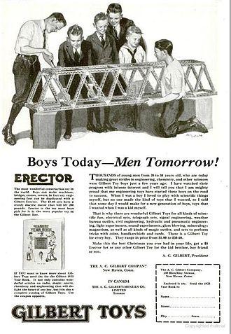 Erector Set - Print advertisement for Erector Set, circa 1922