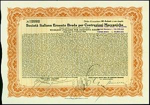 Società Italiana Ernesto Breda -  Warrant of the Società Italiana Ernesto Breda per Costruzioni Meccaniche, issued 1. February 1929