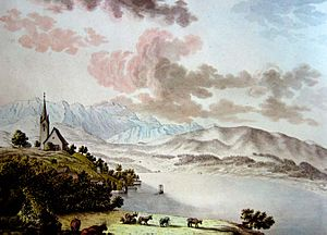 Herrliberg - Herrliberg on 21 May 1786, watercolor by Hans C. Escher of the Linth