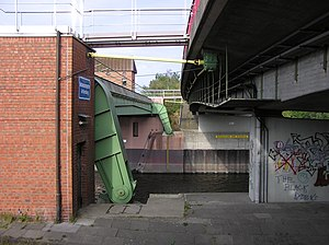 Bundesstraße 209 - B 209 - bridge over the Elbe Lateral Canal with barrier below