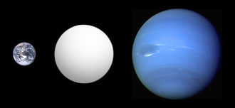 Kepler-11f - Size comparison of Kepler-11f (gray) with Neptune and Earth.