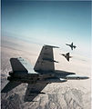 F-18A Hornet Kfir and F-5E aircraft during air combat maneuvering 1989.jpg