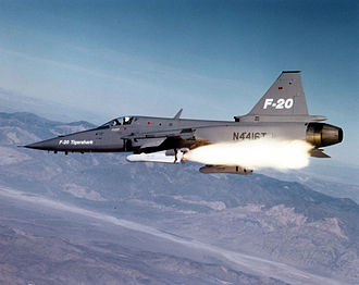 Northrop F-20 Tigershark - An F-20 launching an AGM-65 Maverick missile
