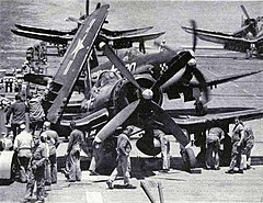 F4U-4 Corsairs of VMF-312 on USS Bataan (CVL-29) in the spring of 1952.jpg