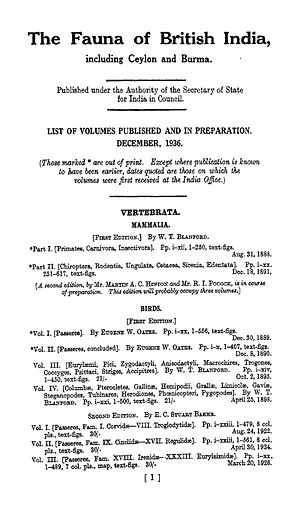 The Fauna of British India, Including Ceylon and Burma - List of publications from 1936. Prices listed in Rupees