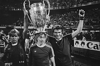 Gary Shaw - Gary Shaw (left) with Tony Morley and Peter Withe after winning the 1982 European Cup on 26 May