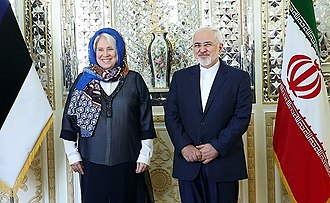 Foreign relations of Estonia - Estonia foreign minister Marina Kaljurand meeting Iranian foreign minister Mohammad Javad Zarif, 12 April 2016