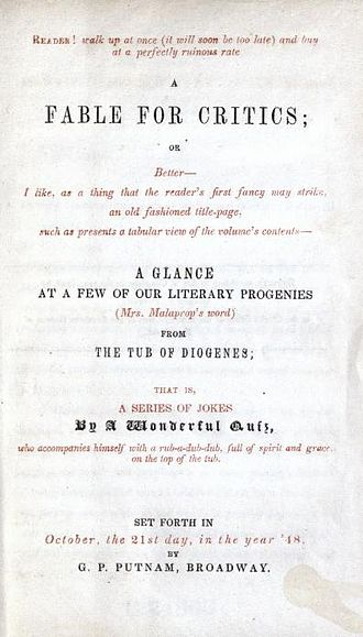 A Fable for Critics - Title page for A Fable for Critics, 1848
