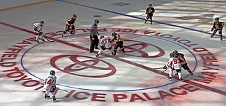 Face-off - Image: Face off in youth hockey tournament at Ice Palace, West Edmonton Mall