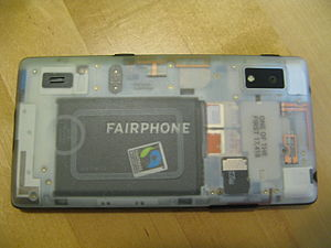 Fairphone - The back side of a Fairphone 2 with a transparent cover, showing its modular design