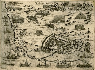 Siege of Famagusta - Depiction of the siege by Giovanni Camocio, 1574