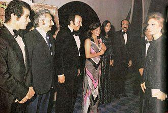 Bahman Farmanara - Farmanara (third from left) meeting with Empress Farah Pahlavi