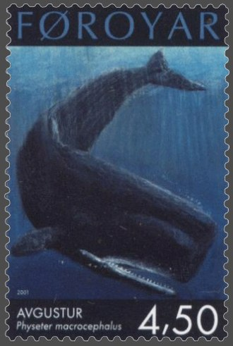 Physeteroidea - Fareoese stamp of Sperm Whale, Physeter macrocephalus