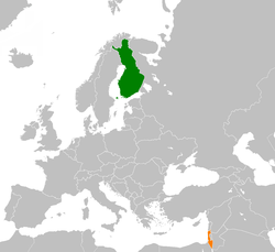 Map indicating locations of Finland and Israel