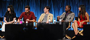 New Girl - The show's main cast: Zooey Deschanel (Jess), Jake Johnson (Nick), Max Greenfield (Schmidt), Lamorne Morris (Winston), and Hannah Simone (Cece) at Paley Fest 2012.