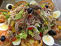 Image of a salad with meat, eggs, tomatoes, onions, and olives.