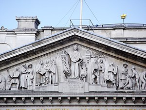 Royal Exchange, London - Detail of the pediment sculpture