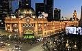 Flinders Street Station illuminated at night.jpg