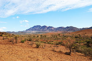 Arid pastoral (sheep grazing) land with the So...