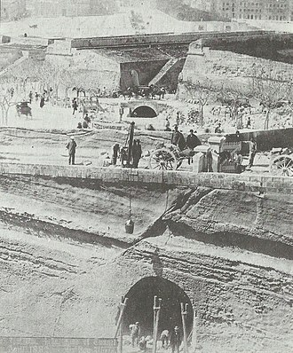 Malta Railway - Digging the railway tunnel between Valletta and Floriana, April 1882