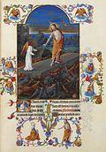 Cristo de pie en la tumba acompañado por un ángel y rodeado de sus guardias conmocionó
