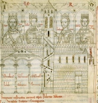 Lambert of Italy - Lambert (second from left) depicted as one of the kings who had favoured and protected the abbey of San Clemente a Casauria. From the Chronicon Casauriense, 12th-century manuscript