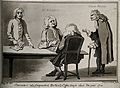Four men gathered around a table, an old man in a cloak and Wellcome V0006693.jpg