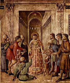 Beato Angelico, San Lorenzo distribuisce le elemosine (1447-1448 circa), Cappella Niccolina Palazzi Apostolici Vaticani