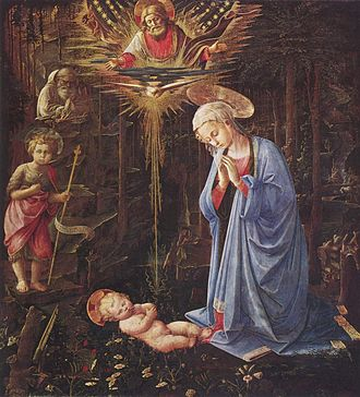 "Adoration in the Forest (Lippi) - ""dark intensity and bursts of golden light"" - Filippo Lippi's Adoration in the Forest"