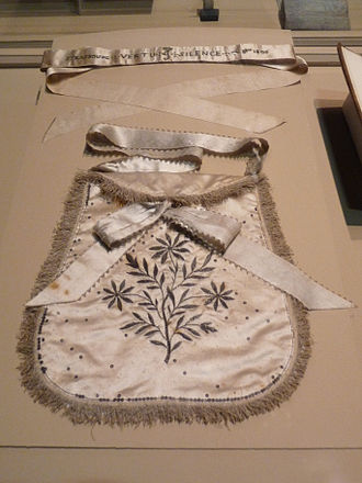 Freemasonry and women - Apron and sash presented to the Empress Josephine on her admission to the Lodge of Virtue, Strasbourg, 1805