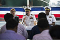 From left, Jennifer McIntyre, the U.S. consul general in Chennai, India; U.S. Navy Capt. Paul J. Lyons, the commander of Destroyer Squadron 15; and Cmdr. Sharif Calfee, the commanding officer of the guided 131104-N-TX154-234.jpg