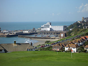 Folkestone Harbour viewed from the Golf Course