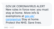 GOV.UK CORONAVIRUS ALERT. New rules in force now: you must stay at home. More info and exemptions at gov.uk/coronavirus Stay at home. Protect the NHS. Save lives.