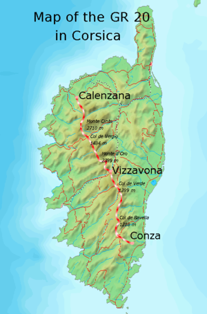 GR 20 - Map of Corsica showing the route of the GR 20