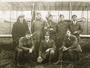 Hendon Aerodrome - George Beatty (far right) and colleague with six student pilots destined for the Royal Flying Corps, photographed at Hendon in August 1916.
