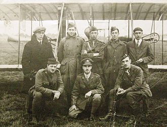 George William Beatty - Beatty (far right) and unidentified colleague with six student pilots destined for the Royal Flying Corps, photographed at Hendon Aerodrome, August 1916.