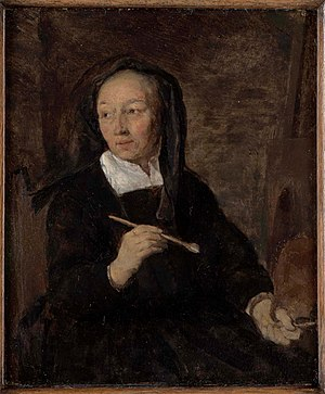 Maria de Grebber - Supposed portrait of Maria de Grebber at her easel by her son-in-law Gabriel Metsu, c. 1660