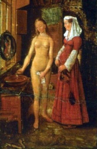 Woman Bathing (van Eyck) - Detail: Willem van Haecht, Art-Gallery of Cornelis van der Geest, 1628