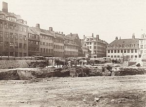 Møntergade - Area cleared in connection with urban renewal in the 1900s, watching from Store Regnegade in the direction of Møntergade