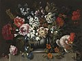 Gaspar Peeter Verbruggen (II) - Still life of flowers in a stone urn with a parrot.jpg