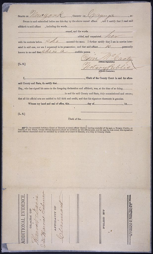 File:General Affidavit of Harriet Tubman Relating to Her Claim for a