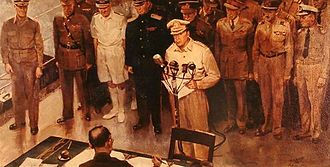 C. C. Beall - General MacArthur, surrender WWII on USS Missouri – painting by C.C. Beall