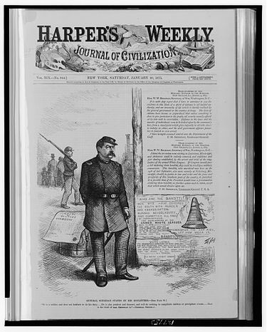 General Sheridan stands by his dispatches by Thomas Nast in Harper's Weekly, v. 19, no. 944 (January 30, 1875), p. 89. General Sheridan stands by his dispatches.jpg
