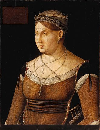 Catherine Cornaro - Portrait of Catherine Cornaro by Gentile Bellini, at the Museum of Fine Arts, Budapest