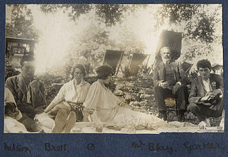 Dorothy Brett - Brett (second from left) with Lady Ottoline Morrell, Mark Gertler and other companions