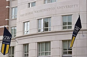 George Washington Colonials men's basketball - The colors of GW, buff and blue, can be seen on banners on the Foggy Bottom campus.
